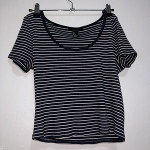 Navy Blue Stripped Baby Tee